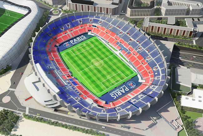 mapa stadiona parc des princes psg